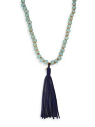 Jonesy Wood Buri Scout Glass Wood And Leather Beaded Tassel Necklace Aqua Navy