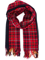 Y's Checked Fringed Scarf Blue