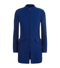 St. John Knit Funnel Neck Jacket Female Blue
