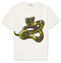 Balenciaga Slim Fit Printed Cotton Jersey T Shirt White