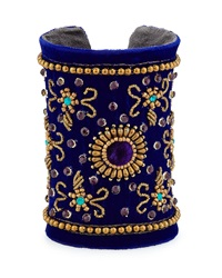 Chamak By Priya Kakkar Velvet Floral Beaded Cuff Bracelet Royal Blue Gold