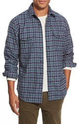 Men's Relwen Regular Fit Double Face Flannel Shirt Navy Grey
