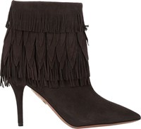Aquazzura Fringe Trim Sasha Booties Grey