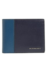 Burberry Men's Leather Wallet Blue Dark Navy Mineral Blue