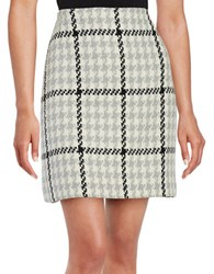 Helene Berman Kelly Houndstooth Plaid Skirt Grey Black