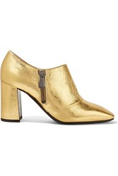 Bottega Veneta Metallic Textured Leather Ankle Boots Gold