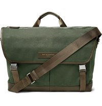 Want Les Essentiels Jackson Leather Trimmed Organic Cotton Canvas Messenger Bag Army Green