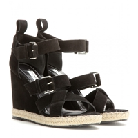 Balenciaga Rope Track Suede Wedge Sandals Noir