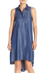Women's London Times Denim Chambray A Line High Low Shift Dress