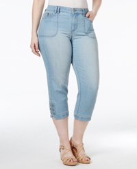 Styleandco. Style And Co. Plus Size Tummy Control Blossom Wash Capri Jeans Only At Macy's