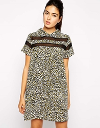 Love Leopard Print Shirt Dress With Panel Detail Brown