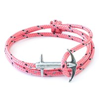 Anchor And Crew Admiral Rope And Silver Bracelet Solid Pink