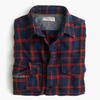 J.Crew Wallace And Barnes Flannel Shirt In Navy And Red Plaid Hthr Blue