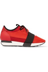 Balenciaga Race Runner Leather Mesh Suede And Neoprene Sneakers