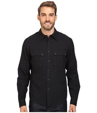 Nau Shadow Box Long Sleeve Shirt Caviar Plaid Men's Long Sleeve Button Up Gray