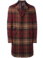 Etro Tartan Single Breasted Coat Red