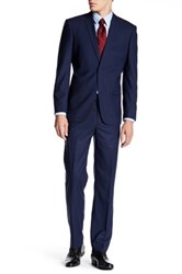 Nicole Miller Navy Multicolored Window Pane Two Button Notch Lapel Suit Blue