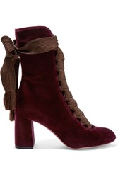 Chloe Lace Up Velvet Ankle Boots Burgundy