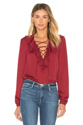 L'academie The Ruffle Boho Blouse Burgundy