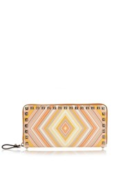 Valentino Rockstud Striped Leather Wallet