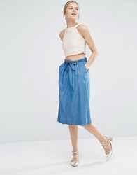 Oasis Chambray Belted Midi Skirt Denim Blue