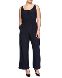 Melissa Masse Pleated Drawstring Jumpsuit Navy