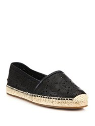 Burberry Hodgeson Laser Cut Leather Espadrille Flats Black