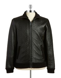Guess Cable Embossed Faux Leather Jacket Black