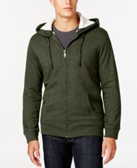 Club Room Sherpa Lined Fleece Hoodie Only At Macy's Olive Mist