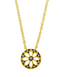 Freida Rothman Crystal Flower Wheel Pendant Necklace Women's