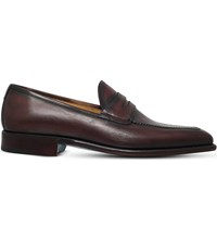 Sutor Mantellassi Olimpo Leather Penny Loafers Dark Brown