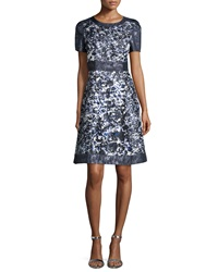 Kay Unger New York Short Sleeve Floral Print A Line Cocktail Dress