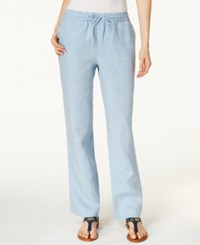 Charter Club Linen Pull On Drawstring Pants Only At Macy's Chambray