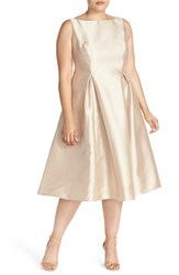 Plus Size Women's Adrianna Papell Sleeveless Mikado Fit And Flare Midi Dress Champagne
