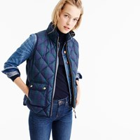 J.Crew Petite Excursion Quilted Vest In Black Watch Tartan