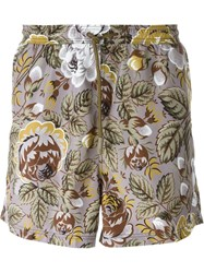 Etro Floral Print Swim Shorts Grey