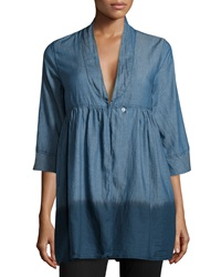 Fade To Blue Three Quarter Dip Dye Chambray Blouse Ihd
