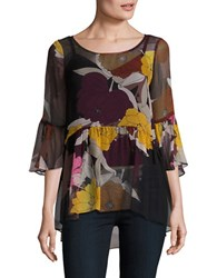 Tracy Reese Three Quarter Bell Sleeved Round Neck Blouse Black Multi