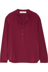 Stella Mccartney Eva Silk Crepe De Chine Blouse Burgundy