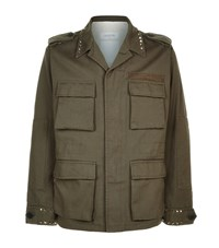 Valentino Studded Caban Jacket Male Green