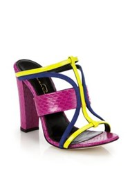 Oscar De La Renta Lonni Elaphe Suede And Patent Leather Sandals Magenta Yellow