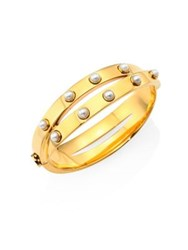 Tory Burch Faux Pearl And Metal Double Wrap Bracelet Gold
