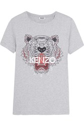 Kenzo Printed Cotton Jersey T Shirt Gray