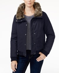 Levi's Faux Fur Trim Bomber Jacket Navy