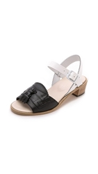 Band Of Outsiders Mid Heel Loafer Sandals Black White