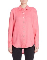 Lord And Taylor Linen Hi Low Casual Shirt Pretty Pink