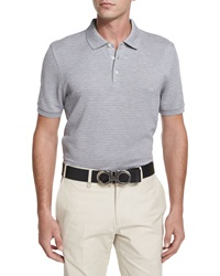 Salvatore Ferragamo Textured Tonal Stripe Polo Shirt Dark Gray
