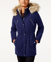 Nautica Faux Fur Trim Hooded Parka Marine
