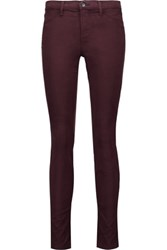 J Brand Mid Rise Brushed Twill Skinny Jeans Burgundy