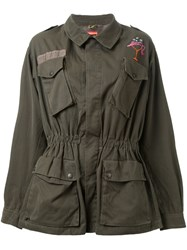Growing Pains Embroidered Military Jacket Green